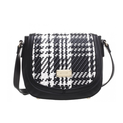 Čiernobiela crossbody kabelka Bessie London